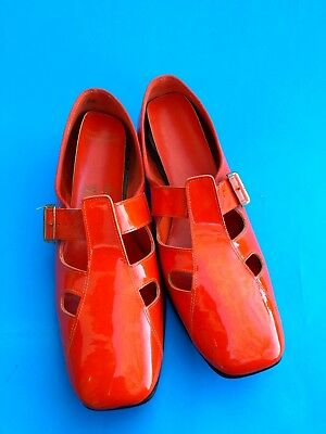Vintage 60s 70s Orange Patent Pvc Buckle Shoes Twiggy 7.5