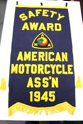 Rare Vintage 1945 Wwii  Ama - American Motorcycle Ass'n Safety Award Banner