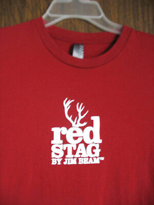 Jim Beam Red Stag T-Shirt Red with White Logo Cotton Size Large