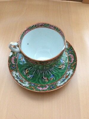 Chinese Export Cabbage Famille Verte Cup &  Saucer