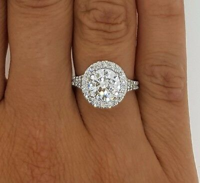 2.00 Ct Si1/d Round Cut Diamond Engagement Halo Ring 14K White Gold Certified