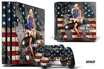 Skin Decal Wrap For PS4 PRO Playstation 4 Pro Console + Controller Stickers WW2