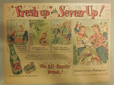 """7-Up Ad: The """"Fresh Up"""" Family Drink ! from 1940's- 50's  8 x 10.5  inches"""