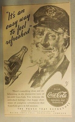 """Coca-Cola ad: """"Easy Way to Feel Refreshed"""" 1930's ~ 6.5 x 9 inches 1930's"""