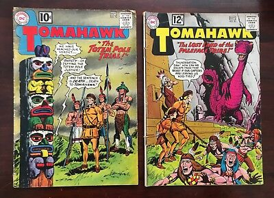 "2 TOMAHAWK COMICS ""THE TOTEM POLE TRIAL"" #76 1961-""LOST LAND"" #82 1962 DC Comics"