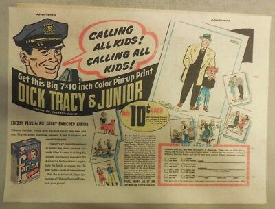 """Pillsbury Cereal Ad: """"Dick Tracy"""" Premium! Farina Cereal 1950's 7 x 10 inches"""