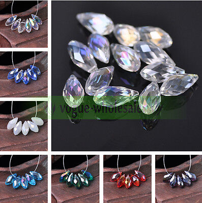 Bulk 6mm Color AB Czech Teardrop Tear Drop Glass Faceted Crystal Loose Beads Hot