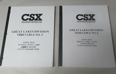 Two CSX Great Lakes Division Timetables, #5  & 6 -- EXCELLENT CONDITION