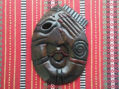 Wooden Mask Handmade Carved Vintage Wall Hanging Face Home Déco Art Sculpture #8