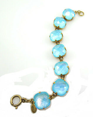 CATHERINE POPESCO gold bracelet X Large 16mm Swarovski Crystal Blue MOVING SALE