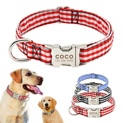 Personalised Dog Collar Heavy Duty Buckle Fabric Small Large Dogs Collar S M L