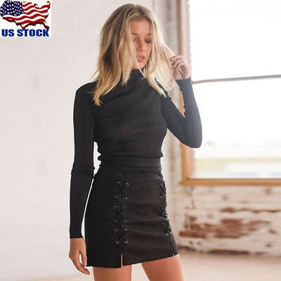 Women Ladies High Waisted Pencil Skirt Bodycon Suede Leather Mini Skirts Club US
