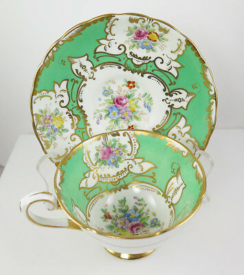 VINTAGE TUSCAN BEAUTIFUL GREEN GOLD FLORAL footed tea cup & saucer England SALE