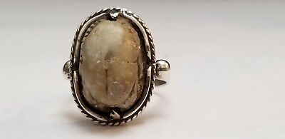 Antique Egyptian Carved Scarab Beetle Sterling Silver Ring