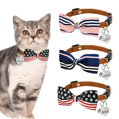 Personalised Bowknot Cat Collar Set with Dog Cat ID Dogs Free Engraved ID Tag