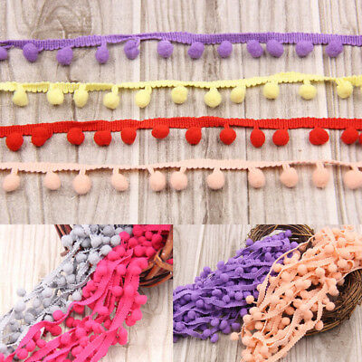 20yds 10mm Jumbo Ball Pom Pom Bobble Trim Hat Braid Fringe Ribbon Edging Crafts