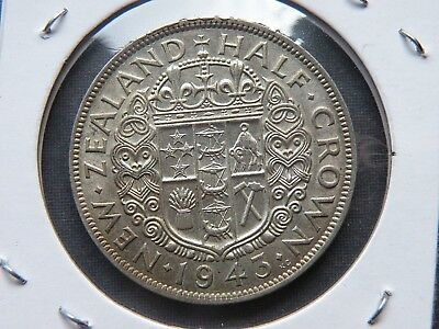 1943 New Zealand Half Crown Silver Coin UNC 1,120,000 Vintage Lot High Value