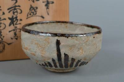 R6000: Japanese Akahada-ware Karatsu glaze Grass pattern TEA BOWL w/signed box