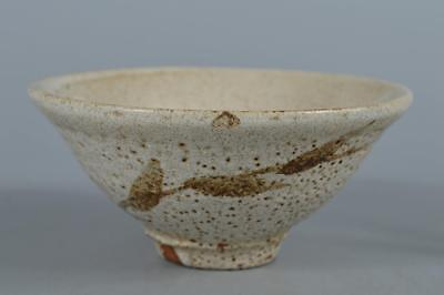 R5669: Japanese Shino-ware White glaze Muffle painting TEA BOWL Green tea tool