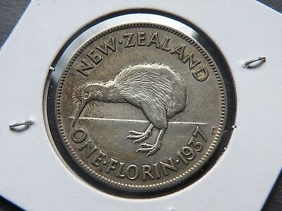 1937 New Zealand One Florin Silver Coin KIWI 1,190,000 Vintage Lot 2 Shillings