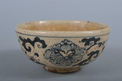 R5424: Japanese Old Seto-ware Blue&White Flower Arabesque pattern TEA BOWL