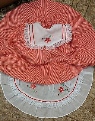 VTG Toddler Baby Sheer Lace Red White Embroidered Floral Ruffle Dress 18 Mos USA