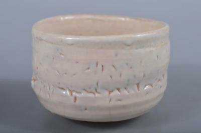 R5091: Japanese Shino-ware White glaze TEA BOWL Green tea tool Tea Ceremony