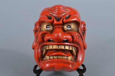 R5323: Japanese Pottery NOH MASK Human face Ornaments Display Kyogen Kagura
