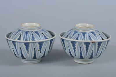 R5335:Japan Old Imari-ware Geometric pattern pattern TEA BOWL/dish of soup 2pcs