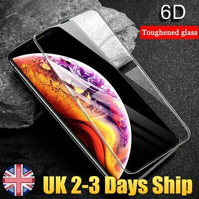 Screen Protector for iPhone XR XS MAX 9H 6D Curved FULL COVER TEMPERED GLASS UK