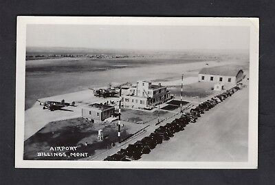 Old 1930s Billings Montana Airport Photo Postcard 3 Airplanes/Many Cars/People