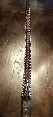 Vintage hand braided horsehair belt with tooled leather, size 38