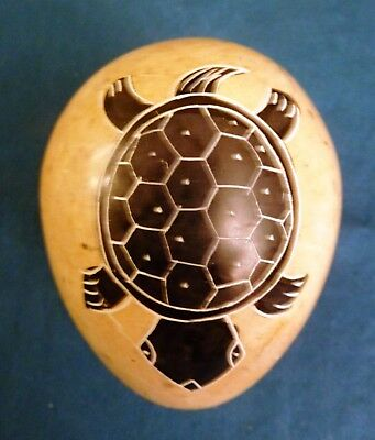 African Folk Art Stone Egg Hand Carved with Painted with Turtles