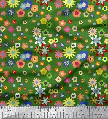 Soimoi Fabric Colorful Flowers Artistic Print Fabric by the Meter-AR-636C