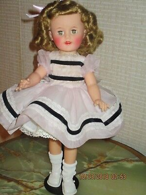 L@@k  15 In. Shirley Temple 1950's Doll By Ideal Pink Party Dress Tagged