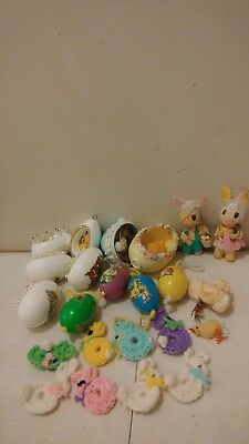 Lot of 22 Vintage Handmade Easter Egg Ornaments Corn husk bunny crochet bunnies