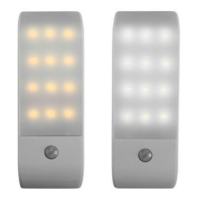 USB Rechargeable 12 LED PIR Sensor Induction Night Light Cabinet Lamp Goodish US