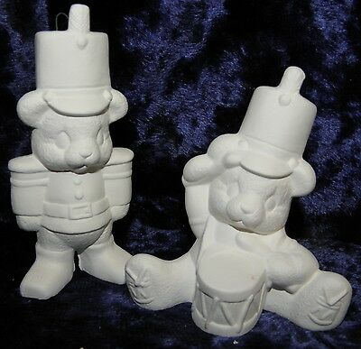 Ready to Paint Xmas Soldier Bears Tree  Decorations x 4