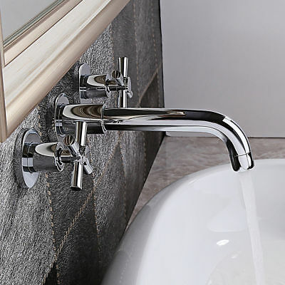 Widespread Double Handle Sink Faucet Bathroom Tub Wall Mount Polished Chrome Tap