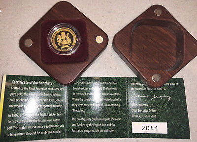 2007 $10 AUSTRALIAN THE ASHES GOLD PROOF COIN. - 1882 - 2007 CRICKET. 1/10 oz AU