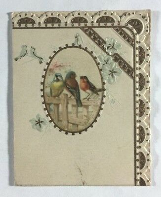Antique Danish Greeting Card Hjertelig Lykonskning Birds Flowers Denmark 1895