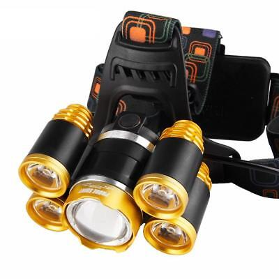 T6 LED 80000 Lm Headlamp Rechargeable USB Zoom Camping Torch Light DI