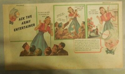 Coca-Cola ad: Female Army Entertainer from WW 2 ! 1940's 7 x 15 inches