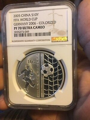CHINA 2005 NGC PF70 SILVER WORLD CUP 2006 GERMANY 10yuan COLORIZED 1oz PF 70