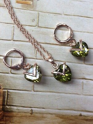 Gold Plated Art Deco Vintage Green Peridot Heart Drop Necklace Earrings AD107