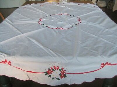 """Vintage Embroidered Christmas Rose Tablecloth  54"""" Round"""