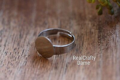 20 Rings For Jewellery Making, Flat Pad Base, Silver Metal Colour DIY