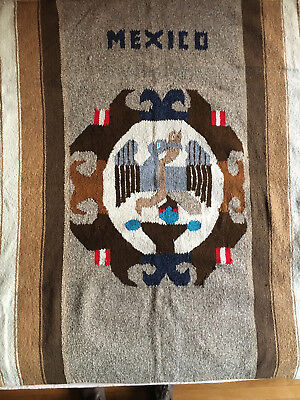 large Vintage 82 x 42  Mexico Wool Woven blanket Wall Hanging Tapestry Folk Art
