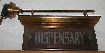 Vintage DISPENSARY Rustic Double Sided Illuminated Wall Hanging Sign RARE