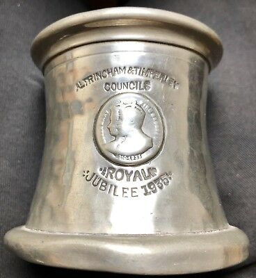 1935 British Royal Family 25 yr Jubilee Pewter Tankard - Altringham & Timperley